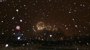 Feuerwerk im Schnee